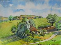 Felderbachtal, Hain, Landschaft, Aquarellmalerei