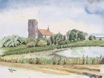 Wahrzeichen, Kirche, Pellworm, Aquarell