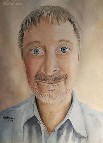 Aquarellmalerei, Portrait, Gesicht, Aquarell