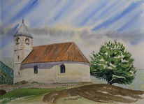 Baum, Himmel, Aquarellmalerei, Kirche