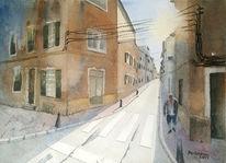 Gegenlicht, Schatten, Stadtszene, Aquarellmalerei