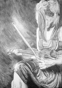 Zeichnung, Violine, Bleistiftzeichnung, Musik