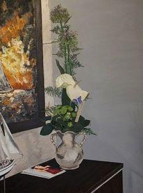 Vergangenheit, Stillleben, Acrylmalerei, Blumen