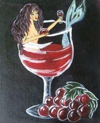 Wein, Glas, Nixe, Malerei