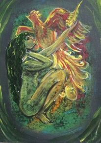Frau, Phoenix, Feder, Malerei