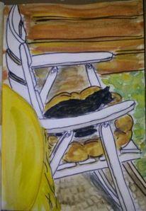 Katze, Terrasse, Stuhl, Illustrationen