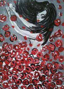 Frau, Tanz, Blumen, Malerei