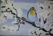 Vogel, Winter, Schnee, Malerei