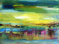 Abstrakte landschaft, Malerei, Rot, Grün
