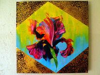 Malerei, Rot, Irises, Ölmalerei