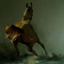 Pferde, Ölmalerei, Malerei, Burg
