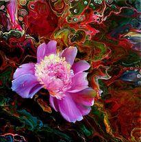 Abstrakt, Malen, Tpfingstrose, Blumen