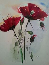 Blumen, Mohnkapseln, Aquarellmalerei, Kapsel