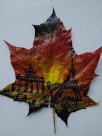 Acrylmalerei, Blätter, Paris, Zeichnungen