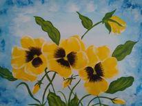 Blumenn, Stiefmütterchen, Gelb, Malerei