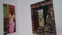 Schießscharte, Frau, Braun, Acrylmalerei