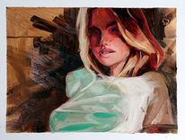 Malerei, Holz, Pinsel, Studie
