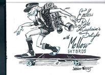 Schwarz, Skateboard, Zeichnung, Skizzenbuch