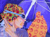 Gelb, Lila, Acrylmalerei, Strand