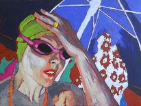 Strand, Acrylmalerei, Portrait, Sonnenbrille
