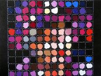 Punkt, Acrylmalerei, Queen, Schwarze leinwand