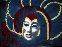 Maske, Venedig, Malerei, Papier pastell