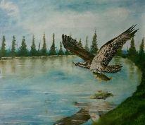 Wasser, See, Vogel, Ölmalerei