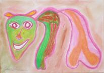 Kuh, Tiere, Abstrakt, Pastellmalerei