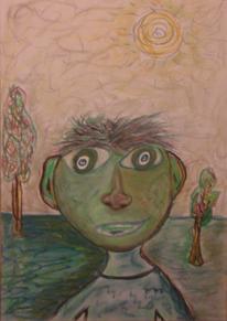 Menschen, Baum, Himmel, Gesicht