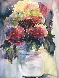 Blumen, Hortensien, Herbst, Aquarell