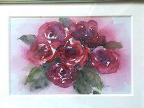 Natur, Aquarellmalerei, Rose, Farben