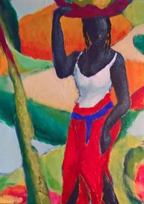 Afrika, Figur, Farben, Malerei