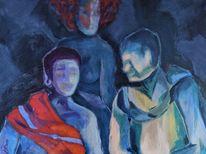Blau, Feuer, Nacht, Malerei