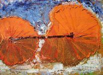 Blau, Strand, Orange, Malerei