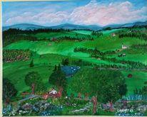 Landschaft, Abendstimmung, Grün, Acrylmalerei