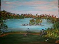 Landschaft, Grün, Fantasie, Abendstimmung