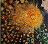 Schwarz, Gold, Blumen, Abstrakt
