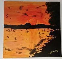 Acrylmalerei, Landschaft, Malerei, Orange