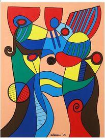 Tanzpaar, Malerei, Abstrakt, Rot