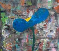 Pinguin, Blumen, Abstrakt, Malerei