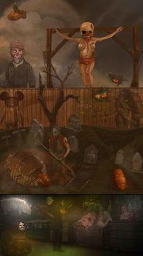 Landschaft, Friedhof, Mörder, Psycho