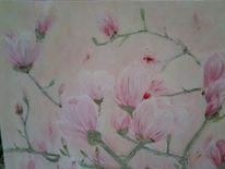 Magnolien, Baum, Blüte, Malerei