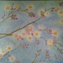 Mandel, Baum, Blüte, Malerei