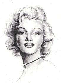 Zeichnung, Portrait, Gesicht, Marilyn monroe