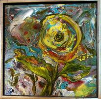 Acrylgießen, Abstrakt, Gelb, Malerei