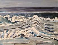 Graublau, Wasser, Welle, Malerei