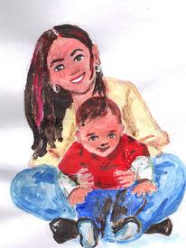 Süsser kleiner kerl, Mutter, Acrylversuch, Malerei