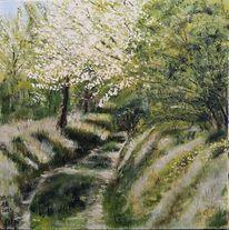 Frühling, Kleiner weg, Grün, Malerei