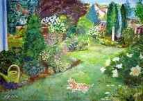 Garten, Strauch, Katze, Blumen