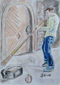 Didgeridoo, Musiker, Kellertuer, Zeichnungen